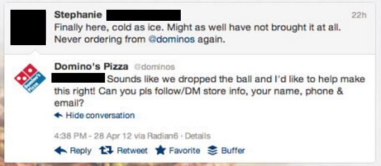 dominos response