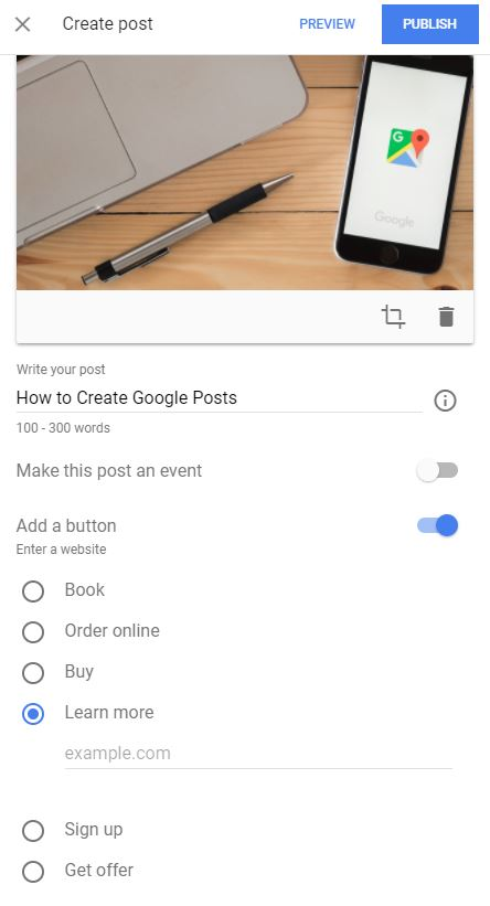 adding a button to google post